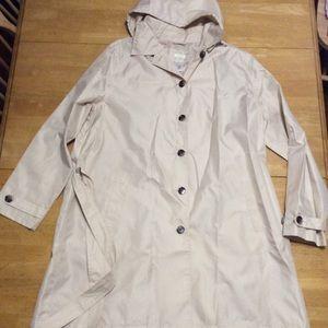 New Capelli Tan Rain Trench COAT Removable Hood XL